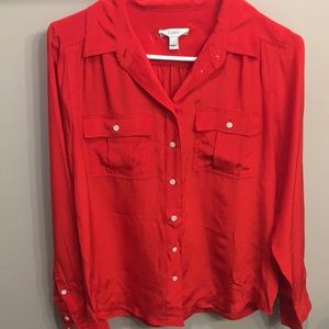 J crew red blouse button up